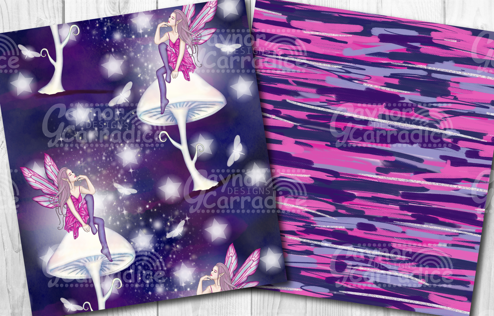 Moonlight Fairy Seamless Pattern Collection example image 4