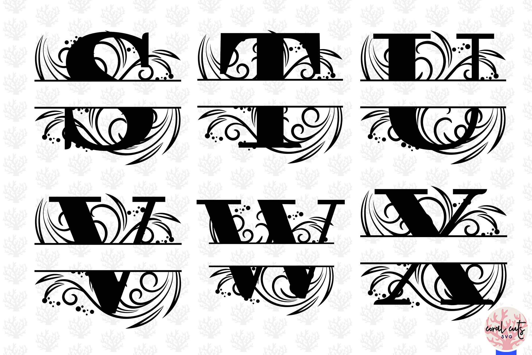 Floral Split Monogram Cut Files - Svg EPS DXF PNG File example image 5