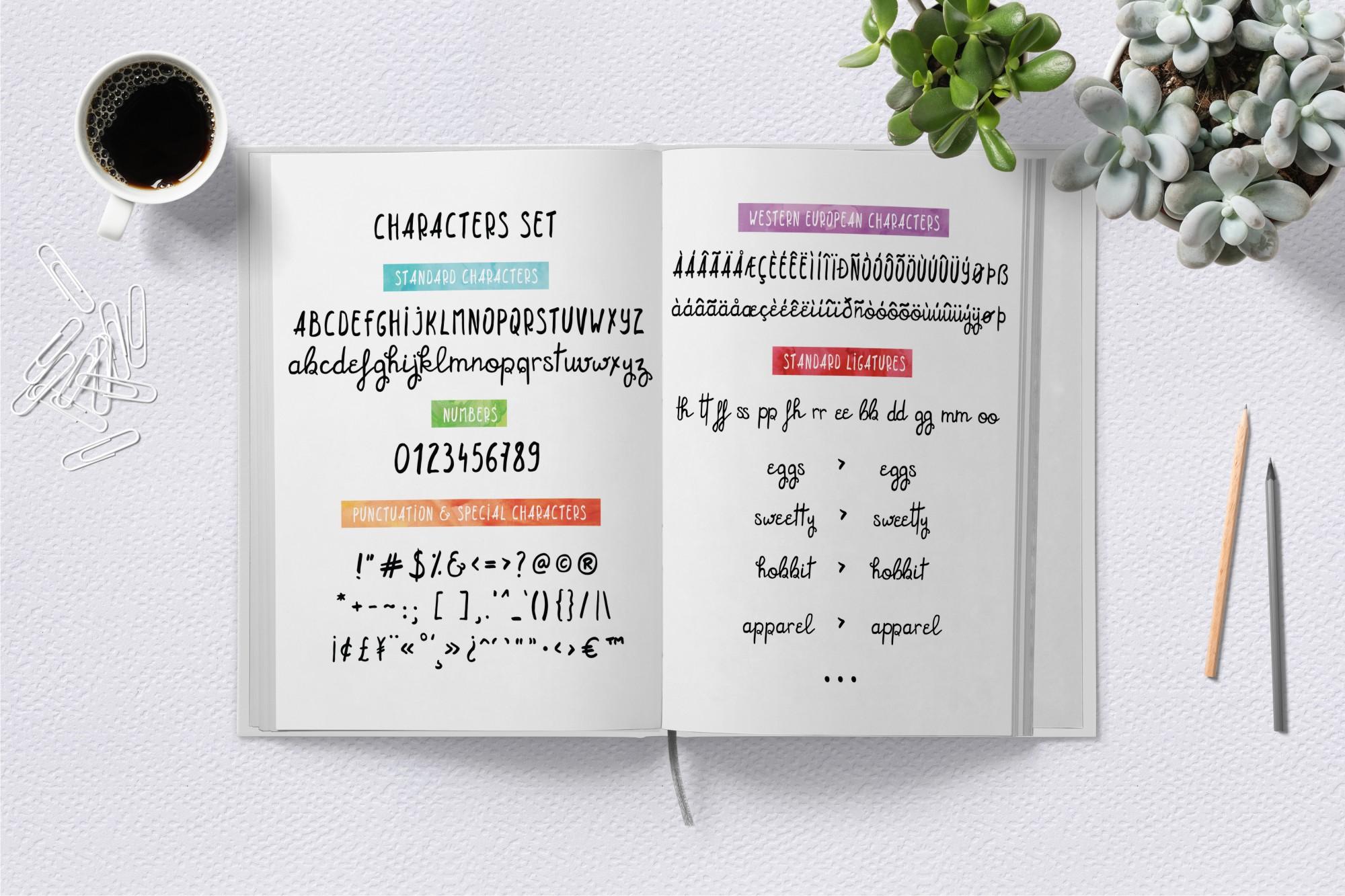 Bridgette script font & Woodland doodles example image 2