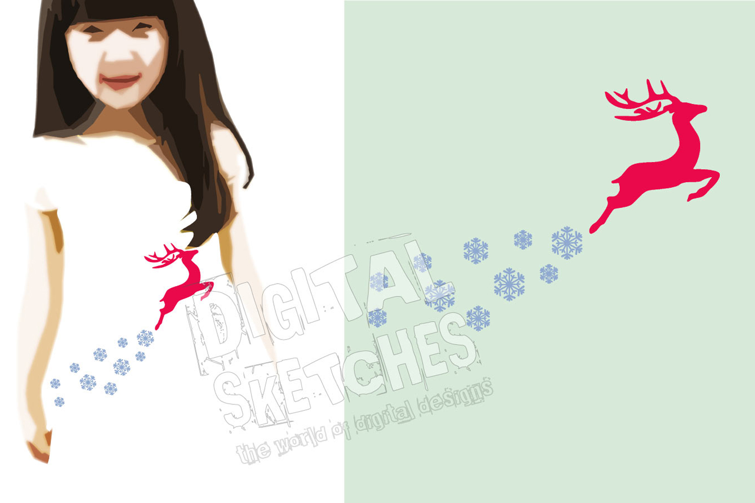 Deer Snowflakes Cut File Vector Graphics Illustration example image 3