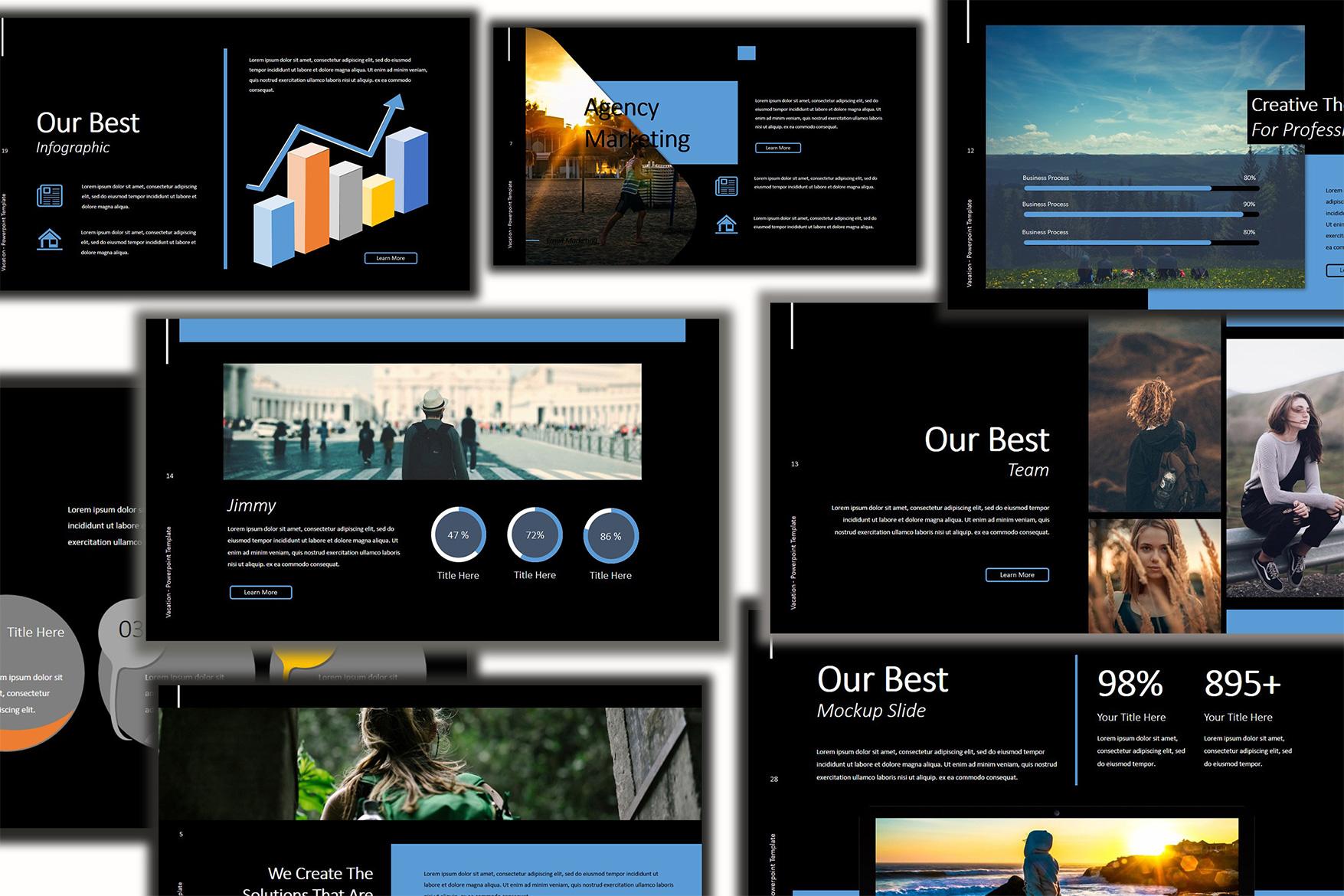 Vacation Lookbook Dark Powerpoint Template example image 4