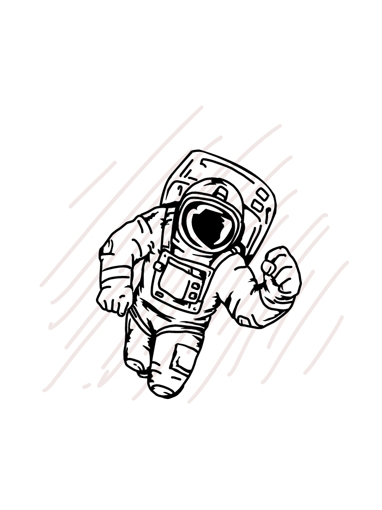 Astronaut floating in the space - SVG/JPG/PNG Hand Drawing example image 2