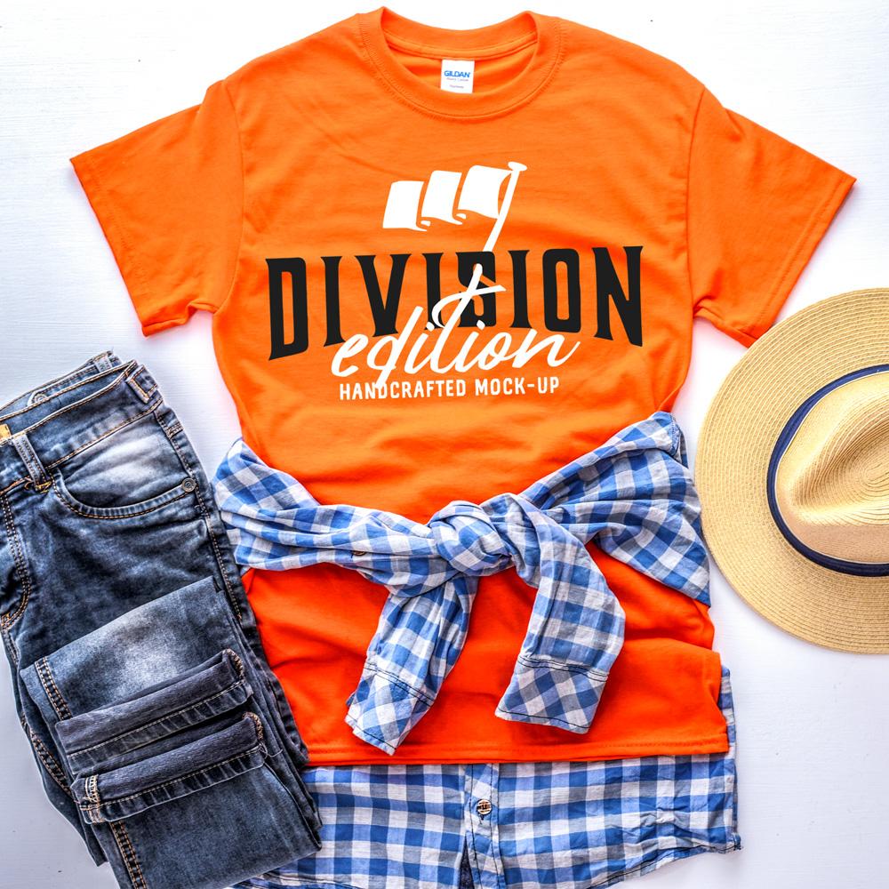 Shirt Mockup - Gildan - 5000 - Orange - photography example image 2