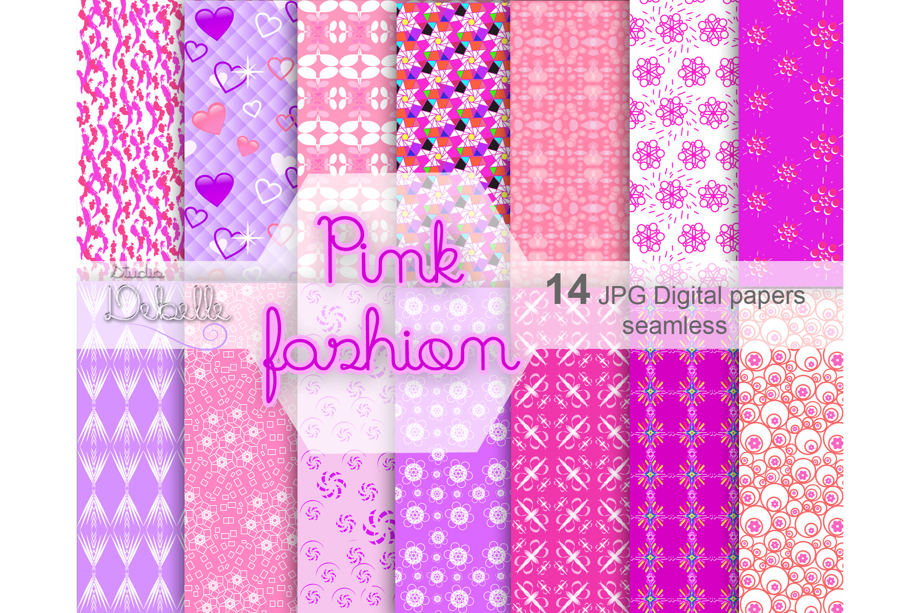 Fashion Pink digital paper seamless pattern example image 1