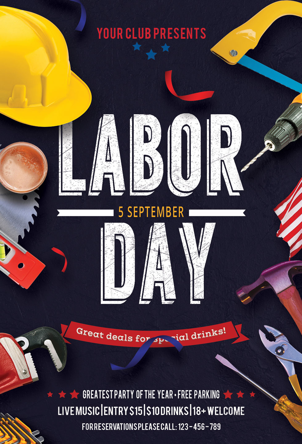 Labor Day Flyer Poster example image 4