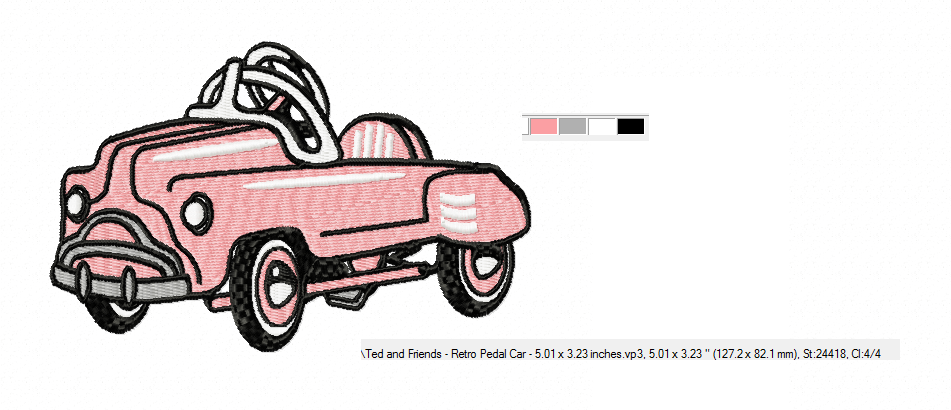 RETRO Pedal Car ~ Machine Embroidery Design in 2 sizes - Instant Download ~ Hurtling Down the Hill in our Pedal Cars example image 2