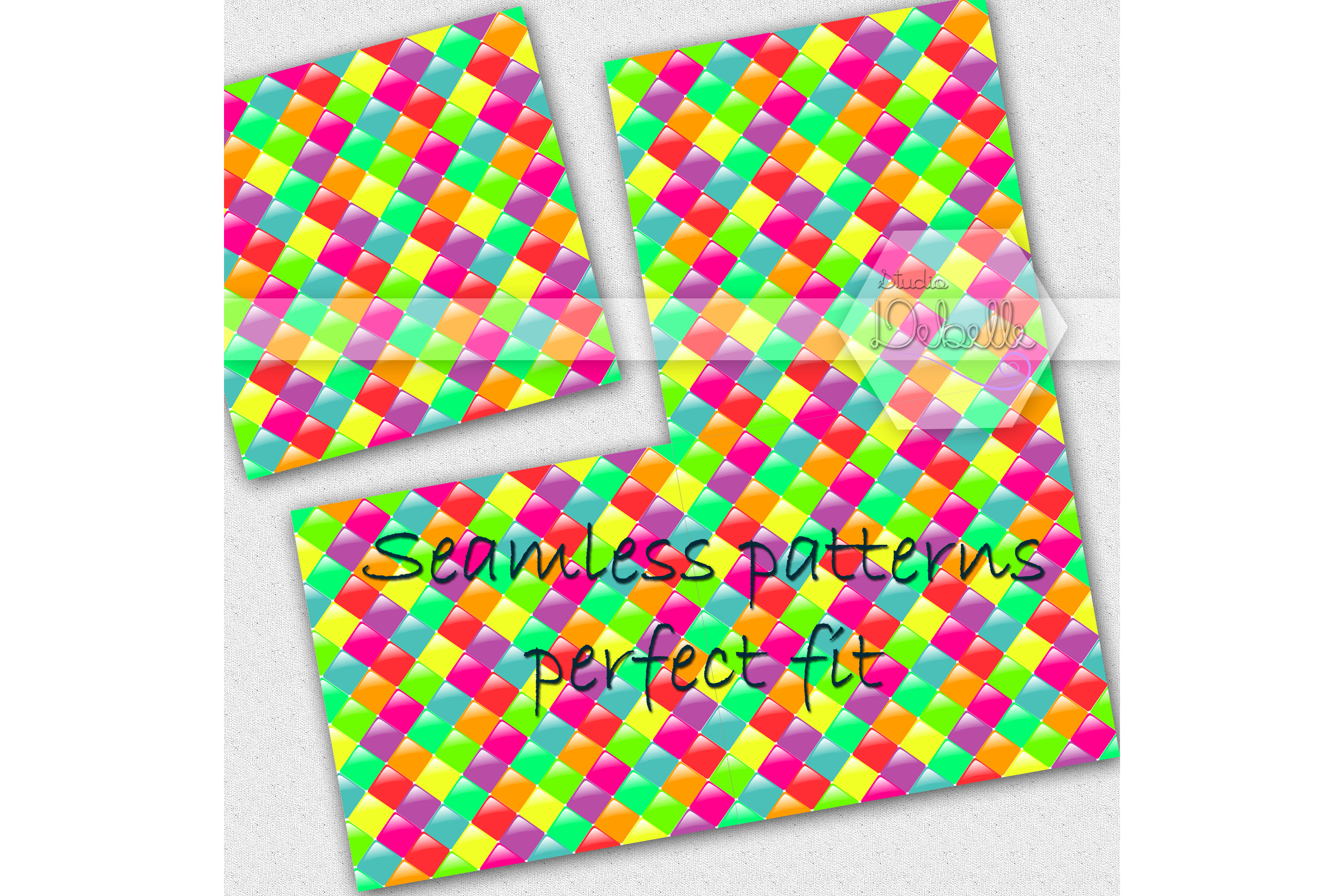 Fun and Colorful digital papers seamless pattern example image 3
