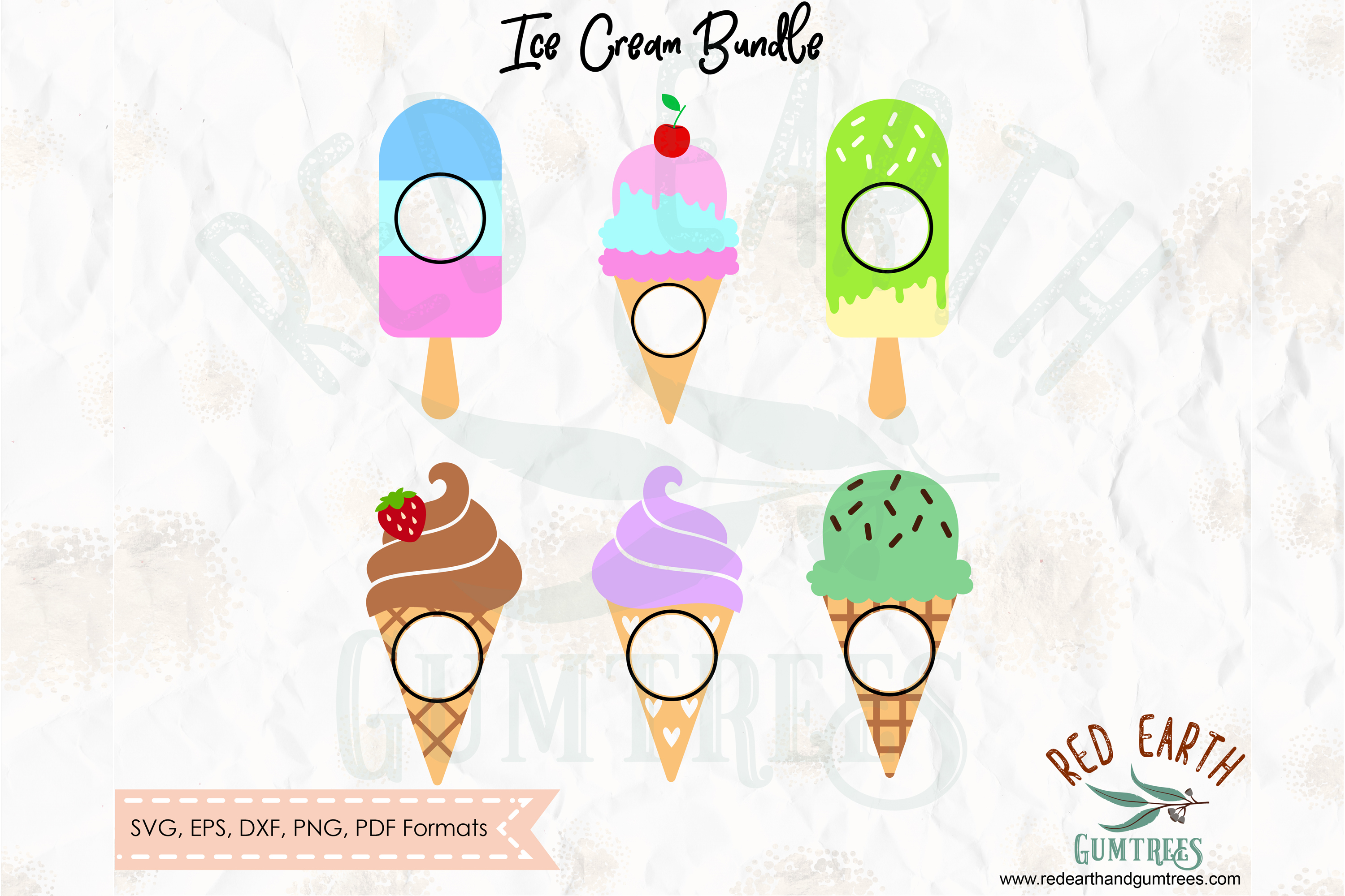Ice cream split monogram frame, ice cream circle frame SVG example image 4