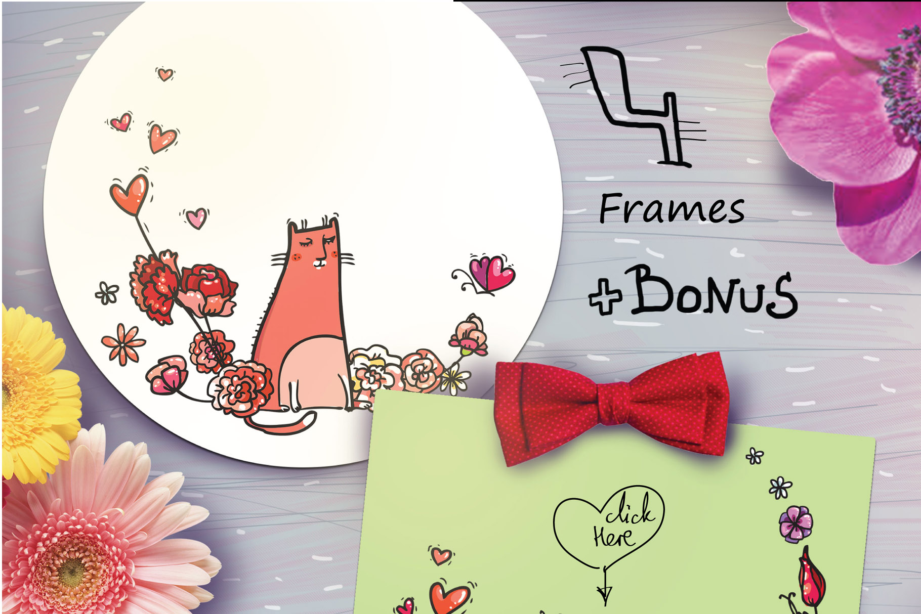 Saint Valentine's Cats - patterns, frames example image 11