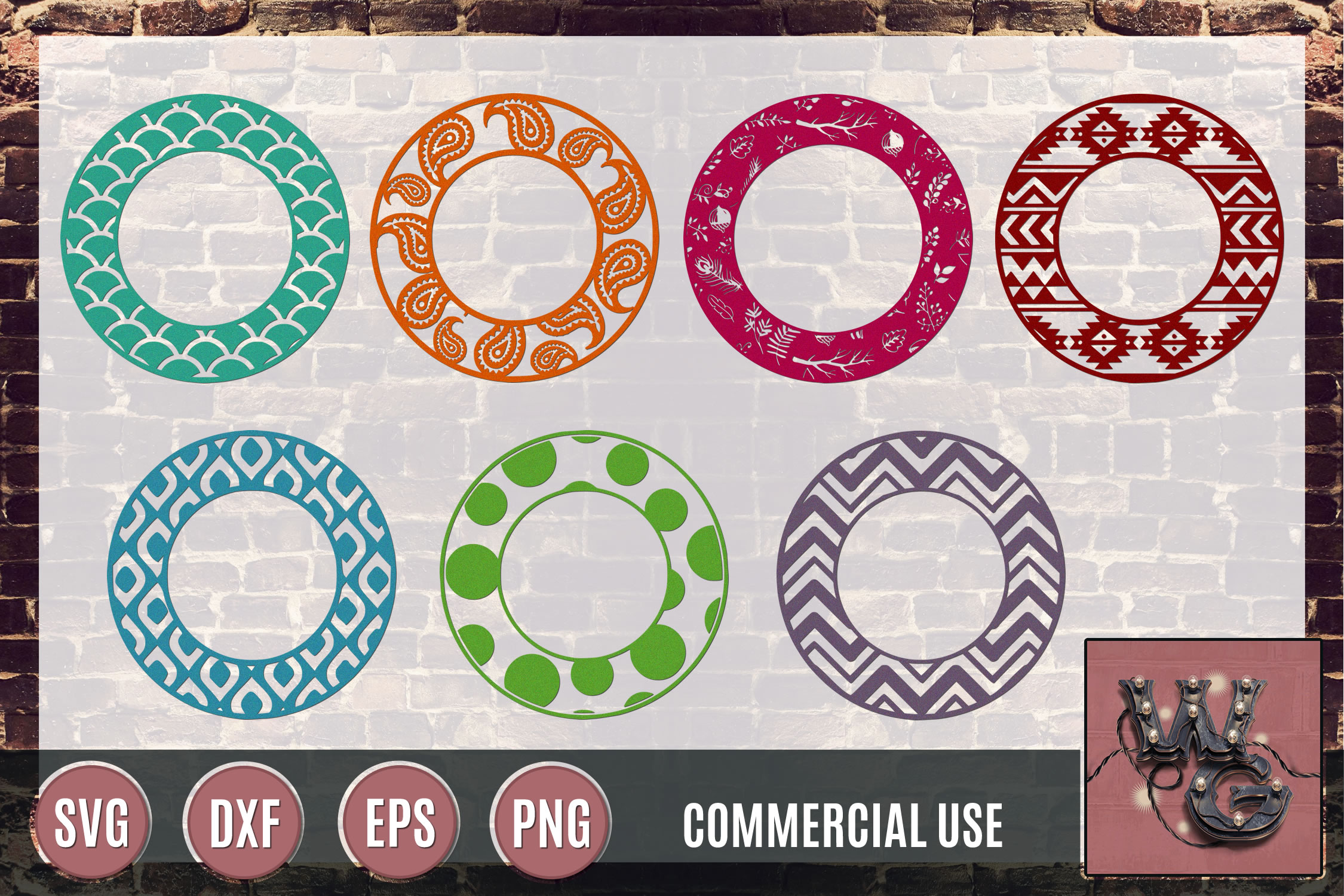 Circle Patterns SVG DXF PNG EPS Commercial example image 1