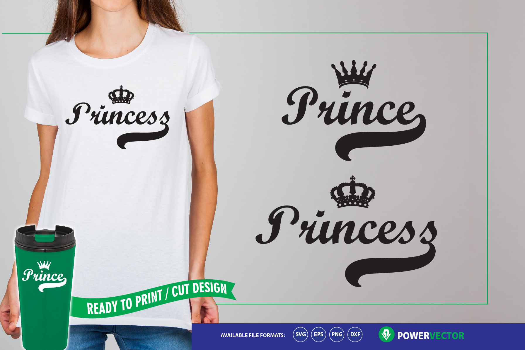 Prince & Princess - Crafts making SVG Files example image 1