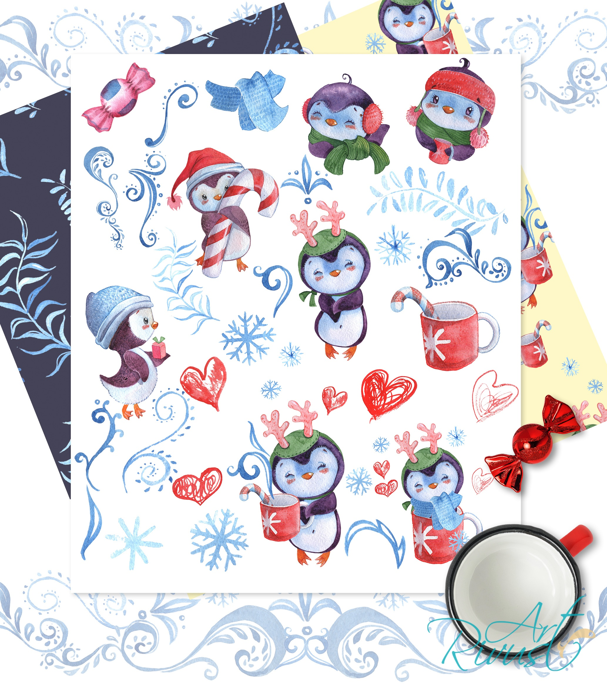 Christmas Penguins watercolor CLIPARTS, DIGITAL PAPERS example image 7