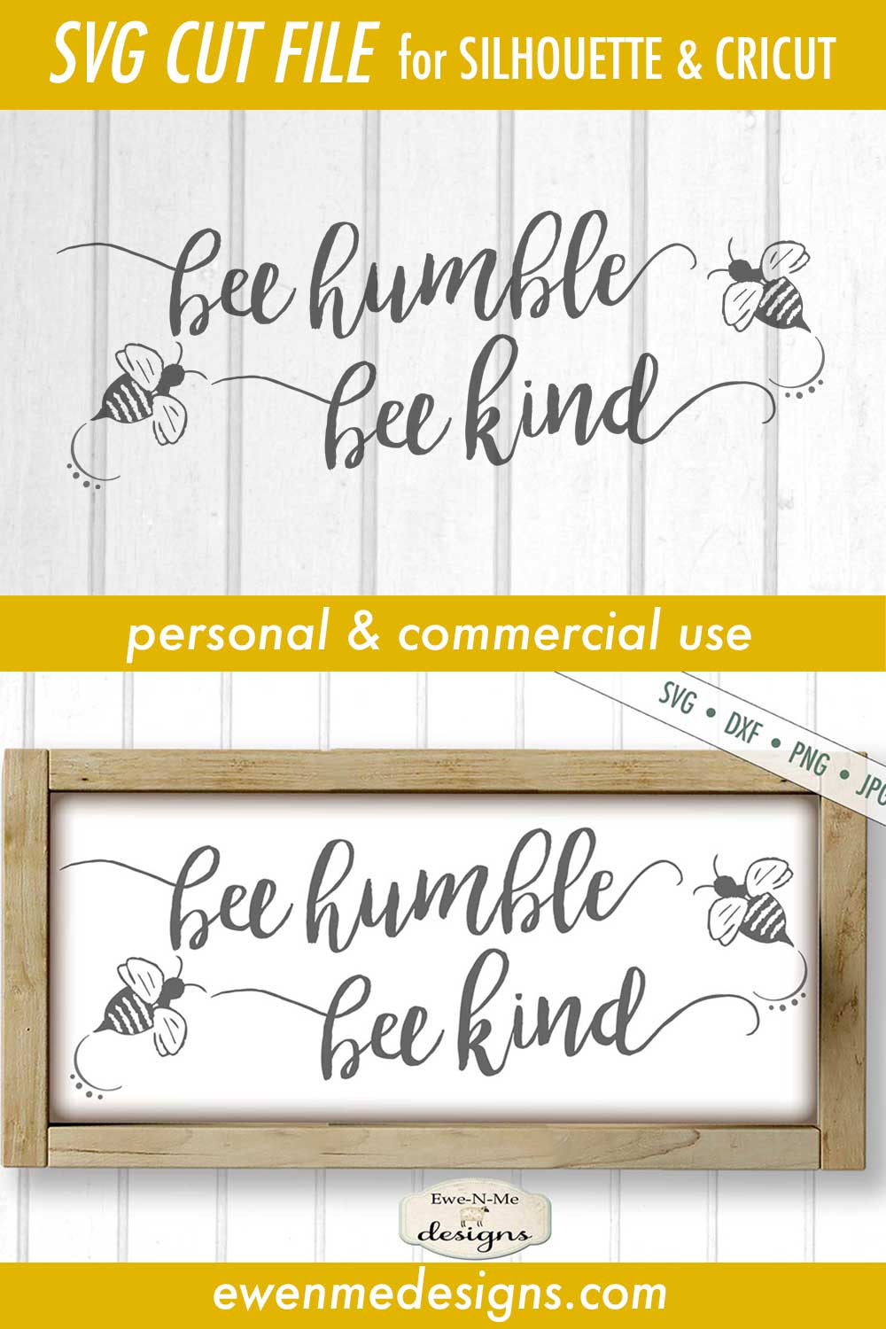 Bee Humble Bee Kind SVG DXF File example image 3