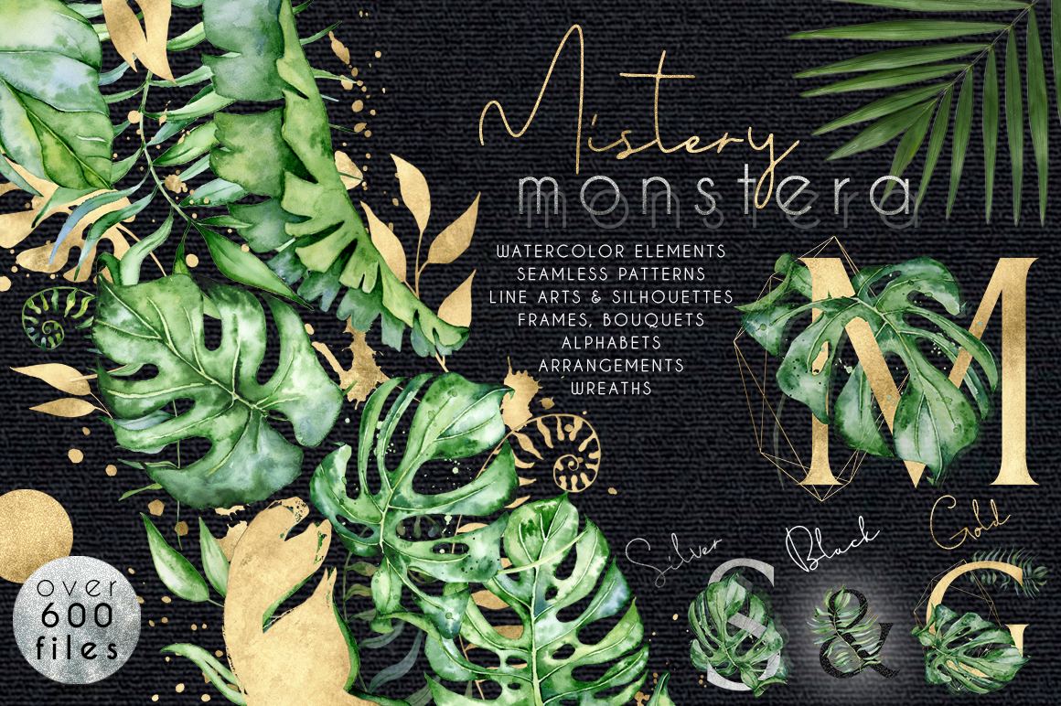 Mistery Monstera - tropical leaves watercolor illustration example image 1