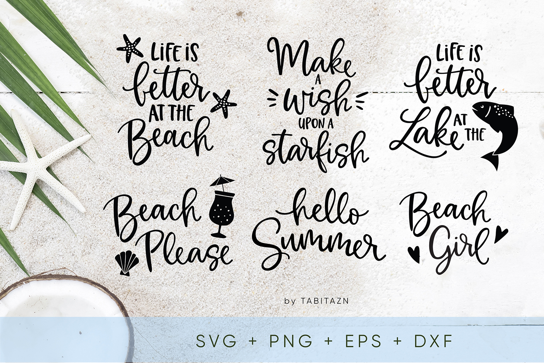 Beach bundle 6 cut files SVG, EPS, PNG, DXF example image 1