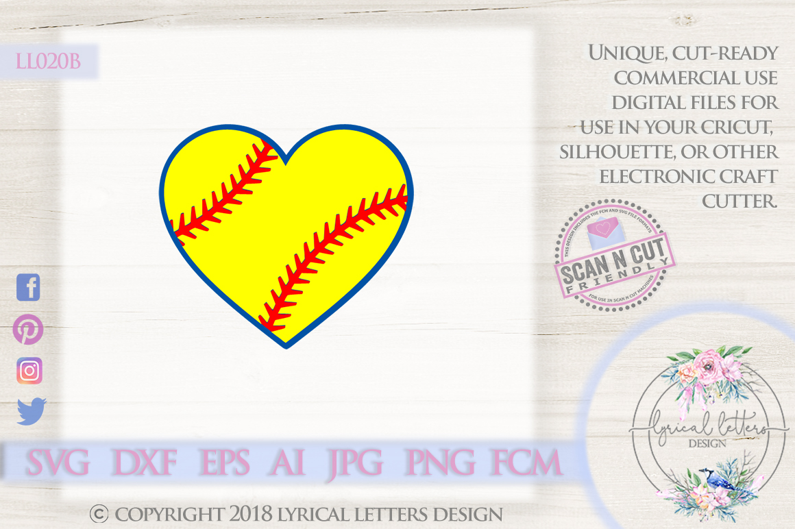 Softball Heart SVG DXF LL020B example image 1