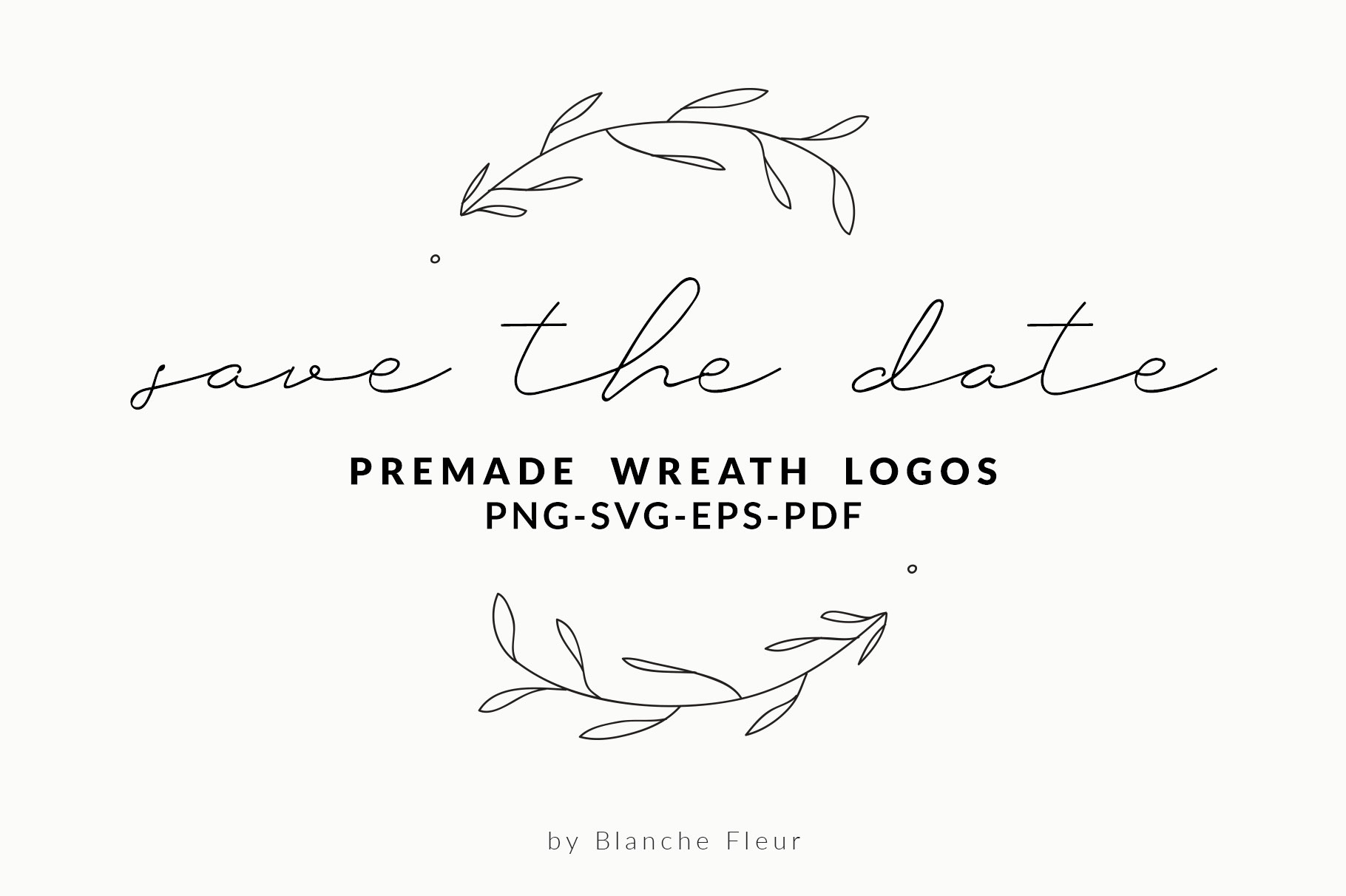 Save The Date Premade Wreath Logos example image 1