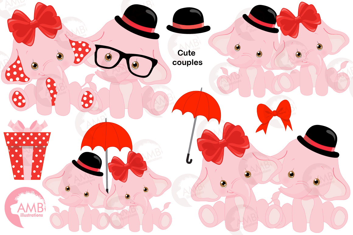 ELEPHANT babies in pink! BUNDLE! 53 cliparts, graphics and illustrations and Patterns AMB-2276 example image 3
