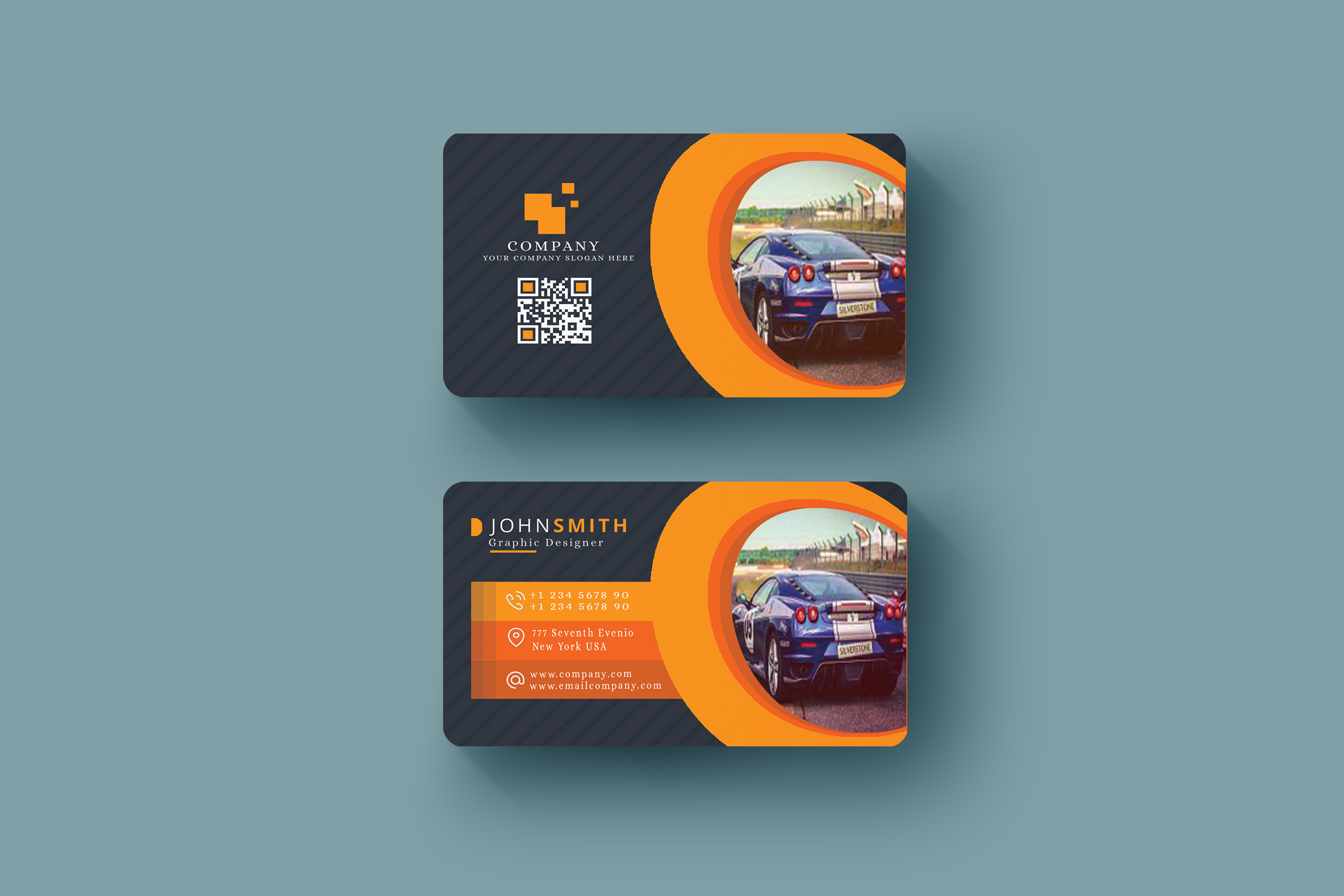 Abstract Business Card in Multicolor Design Template  example image 2