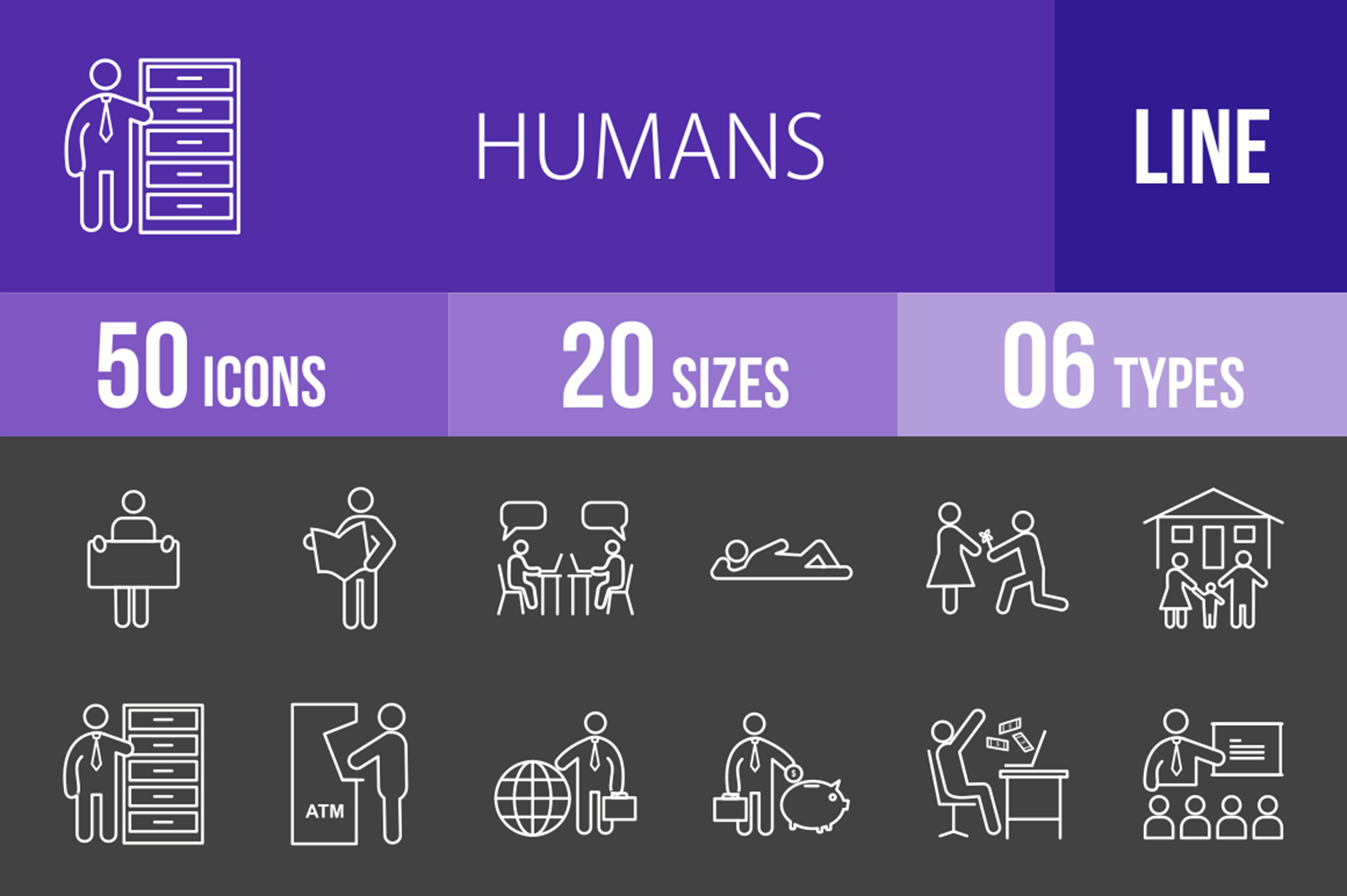 50 Humans Line Inverted Icons example image 1