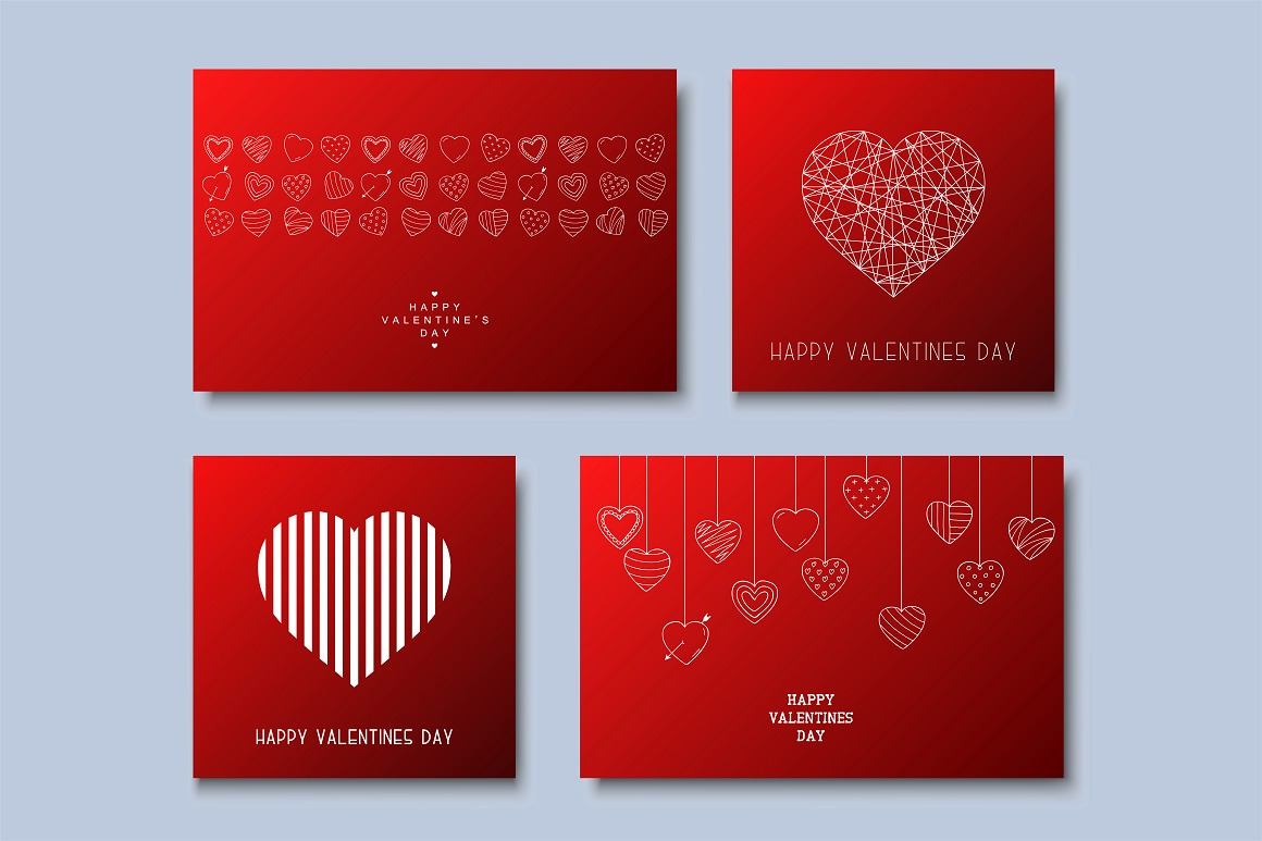 Hand drawn Valentine's love cards example image 1