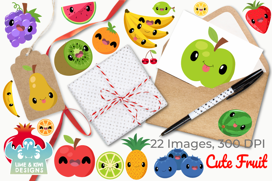 Cute Fruit Clipart, Instant Download Vector Art example image 4