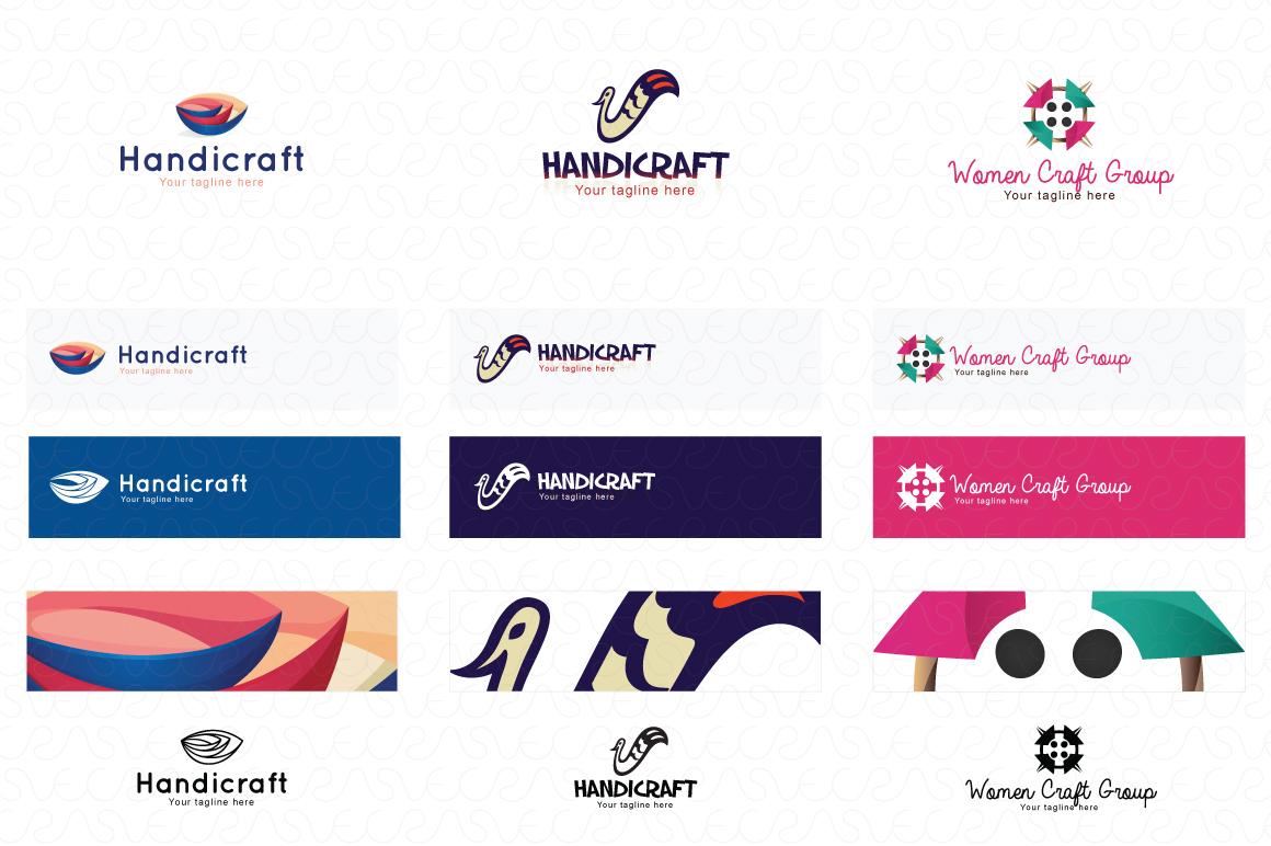 Art Craft Handicrafts Logo Templates Pack of 12 example image 3