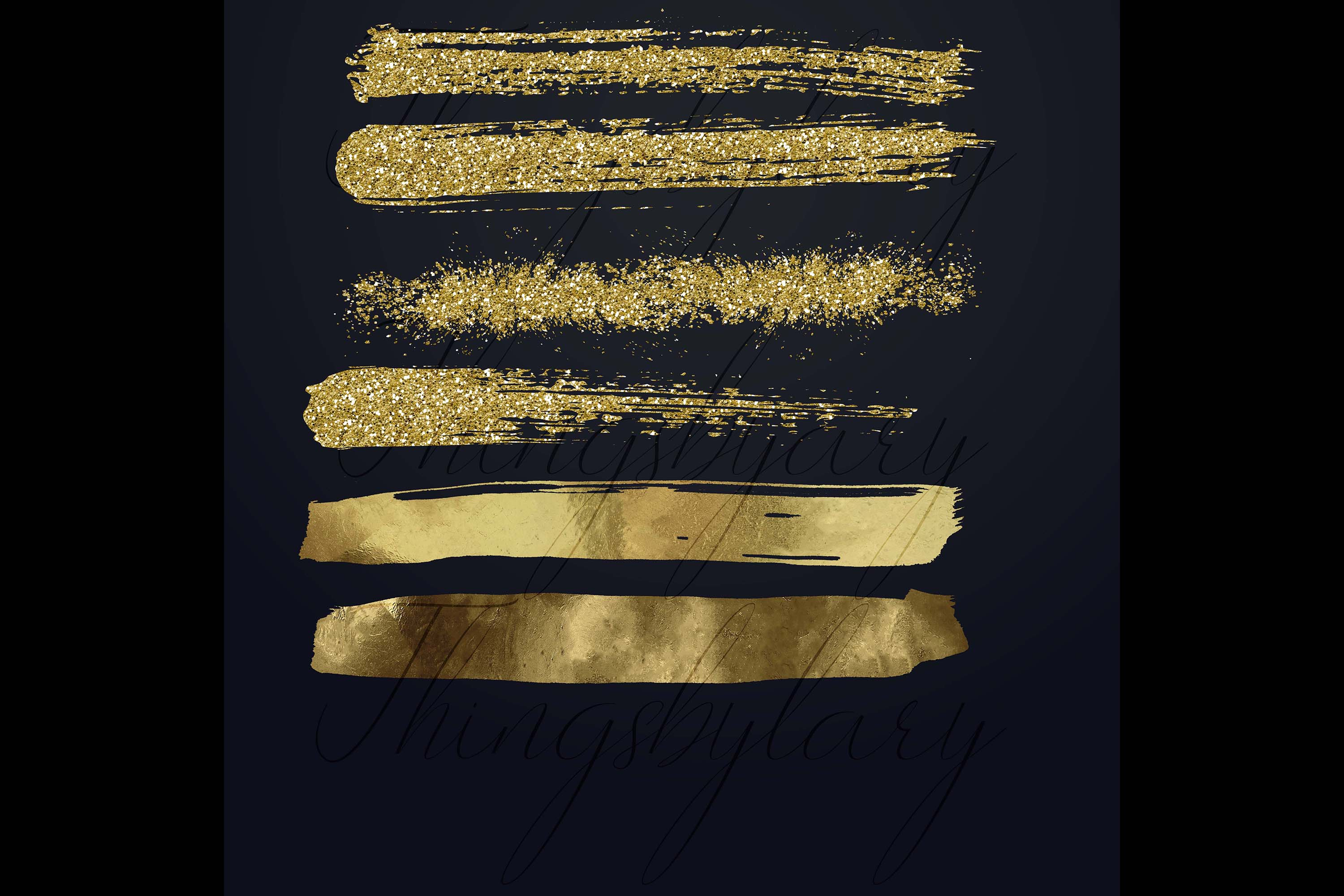 33 Gold Glitter and Black Hand Drawn Brush Strokes Images example image 8
