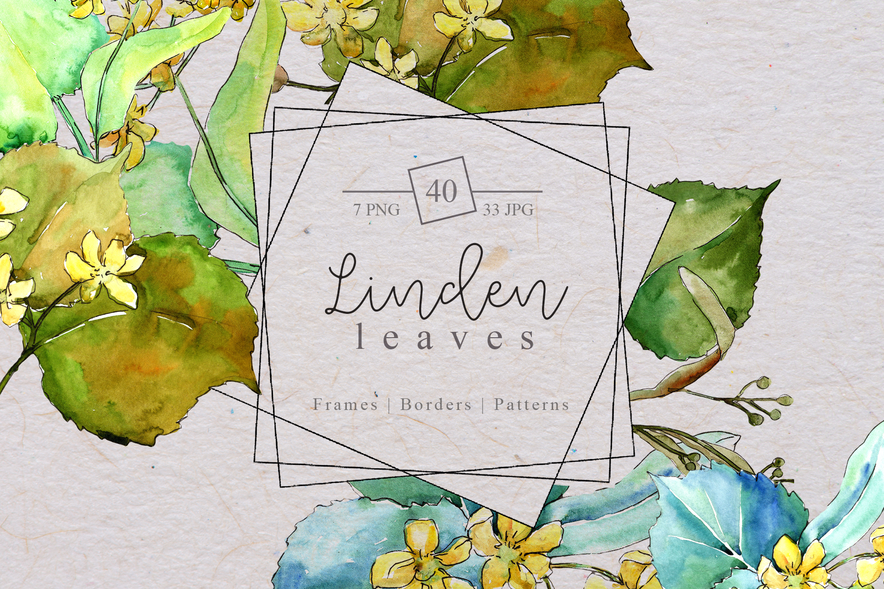Watercolor linden leaves PNG set example image 1