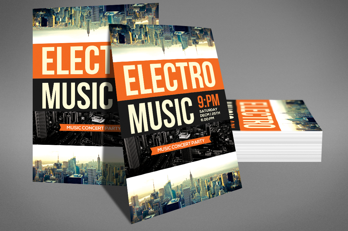 Modern Electro Music Flyer example image 3