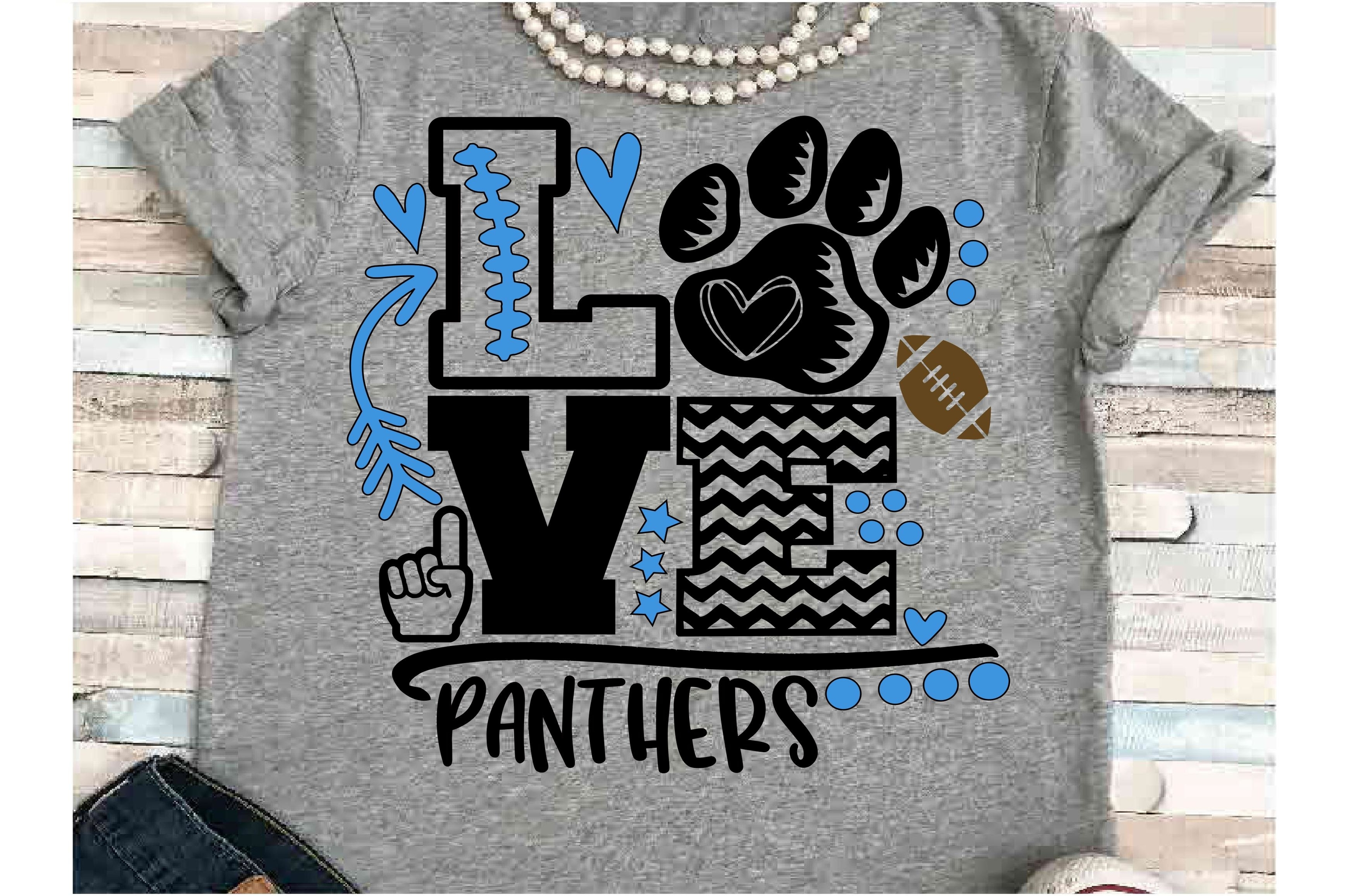 Football SVG DXF JPEG Silhouette Cameo Cricut panthers mom example image 1