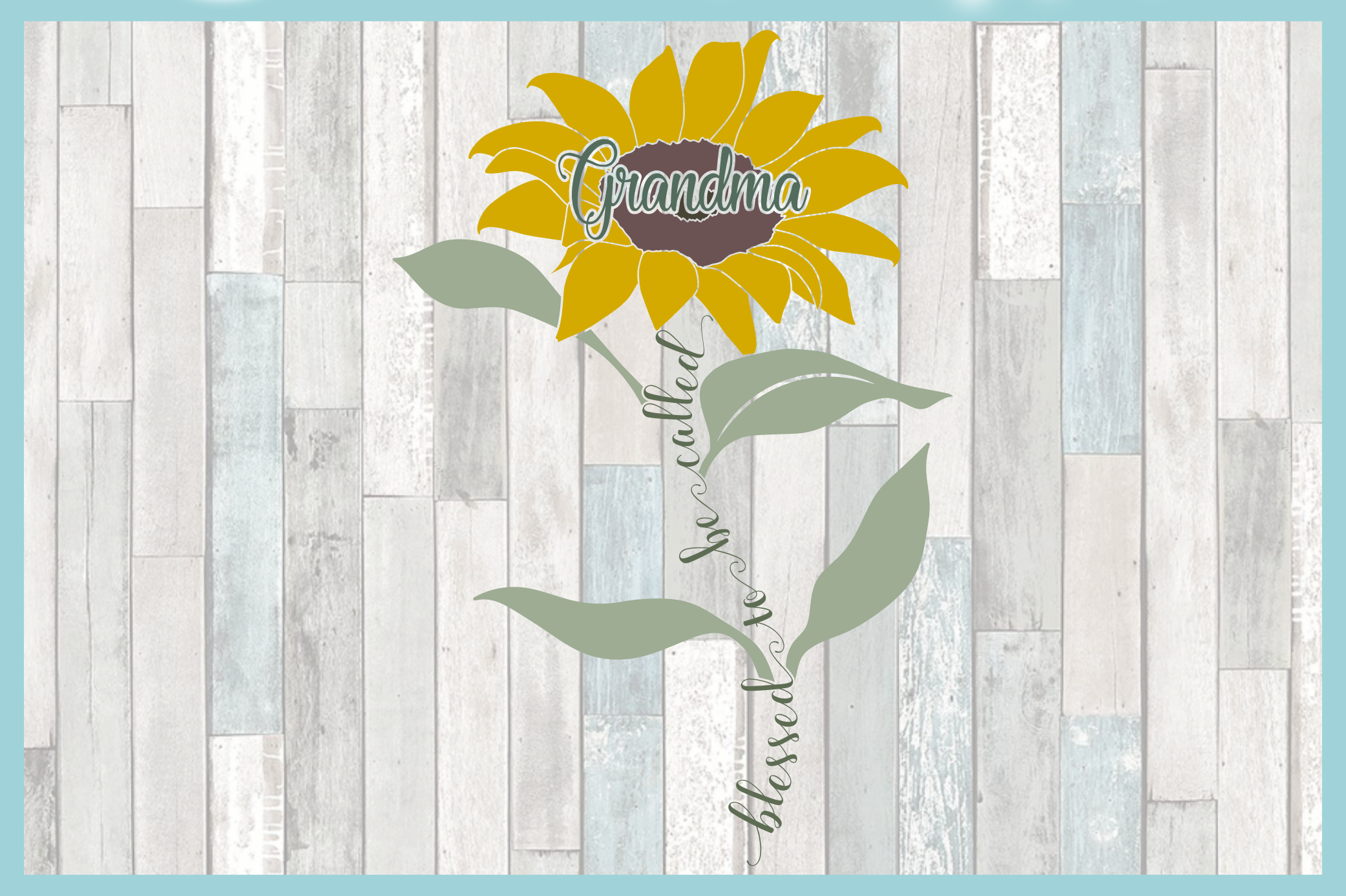 Blessed To Be Called Grandma Quote with Sunflower SVG example image 3