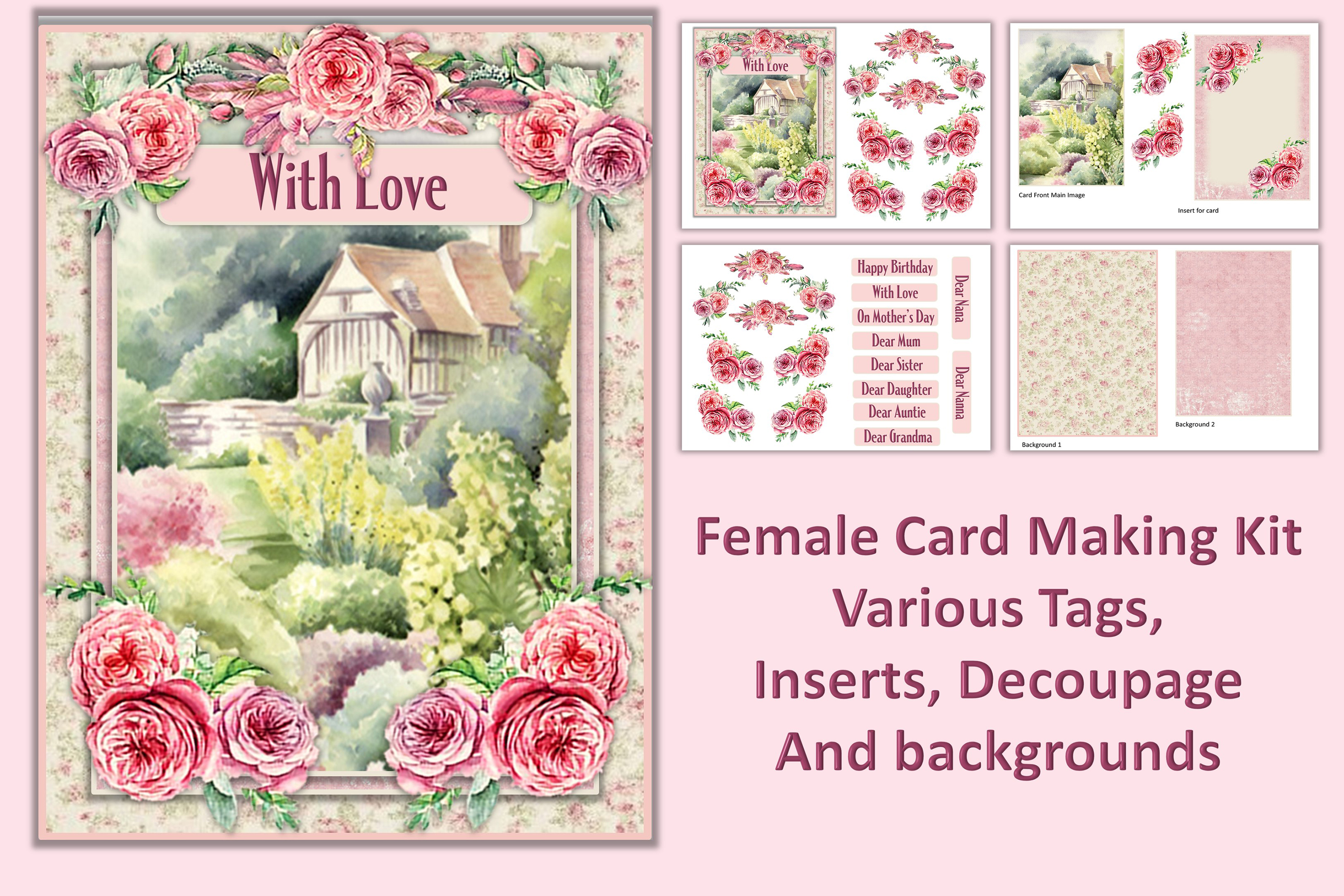 Card Making Kit Set of 4 Watercolour Garden JPEG, PDF & PNG example image 2