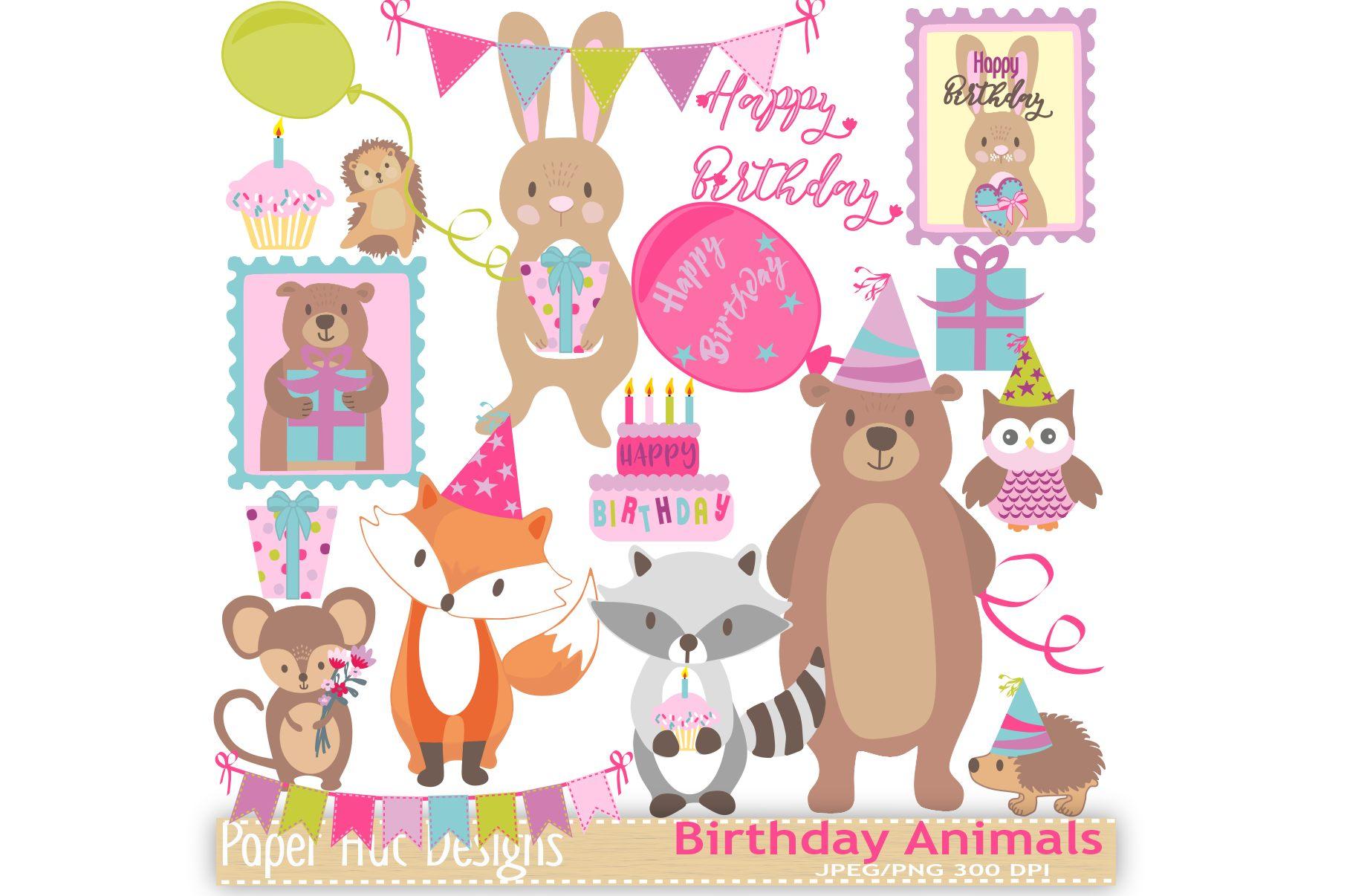 Birthday Animals Clipart example image 1