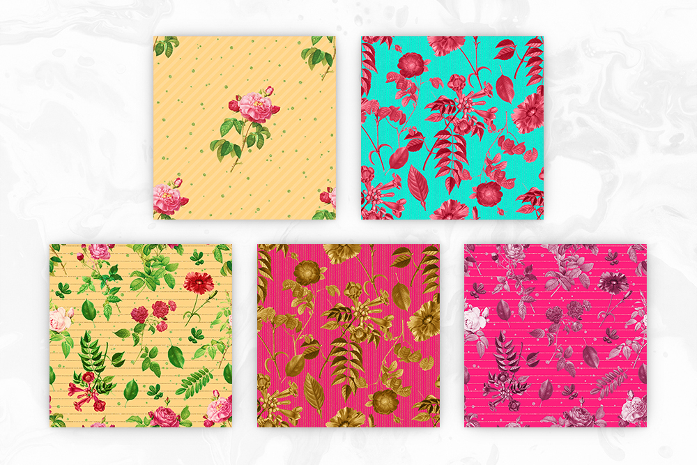 Retro Colors Floral Tileable Backgrounds example image 3
