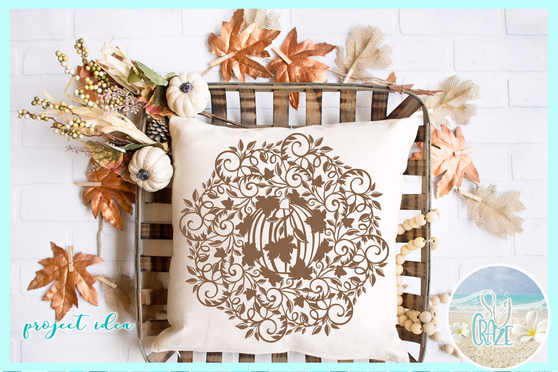 Fall Pumpkin with Vine and Leaves Mandala Zentangle SVG example image 1