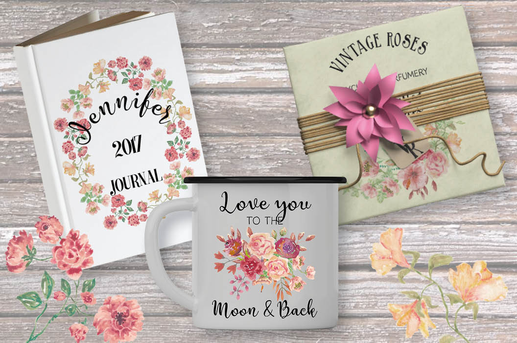 Watercolor sprays of vintage roses example image 5