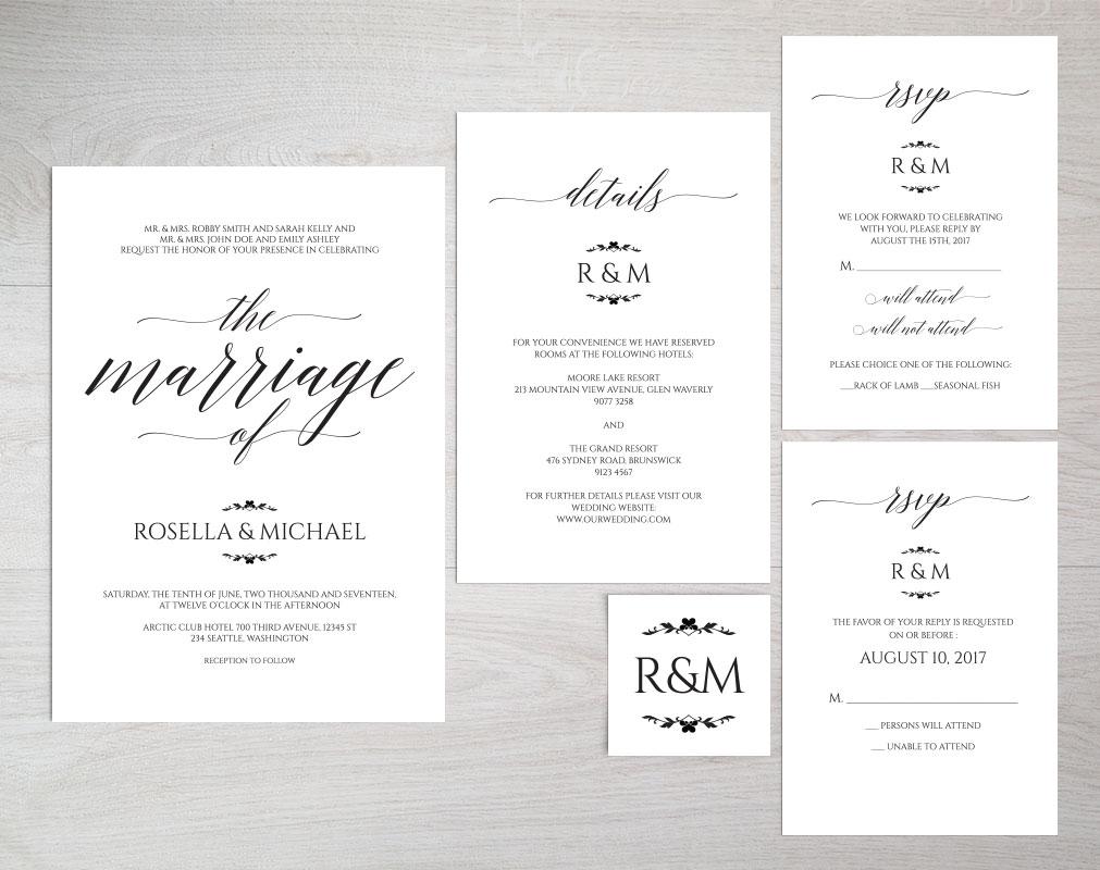 Wedding invitation set portrait, TOS_13 example image 3