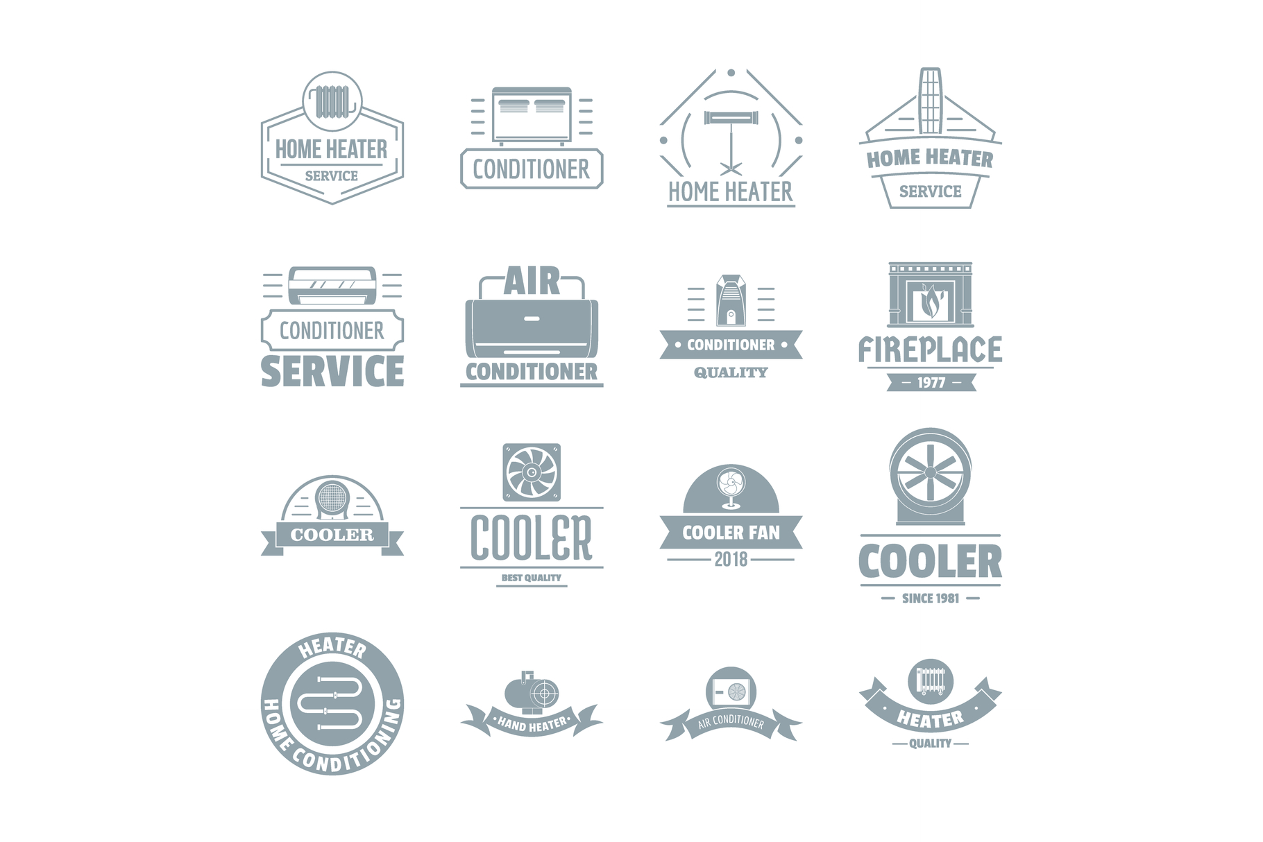 Heating cooling logo icons set, simple style example image 1