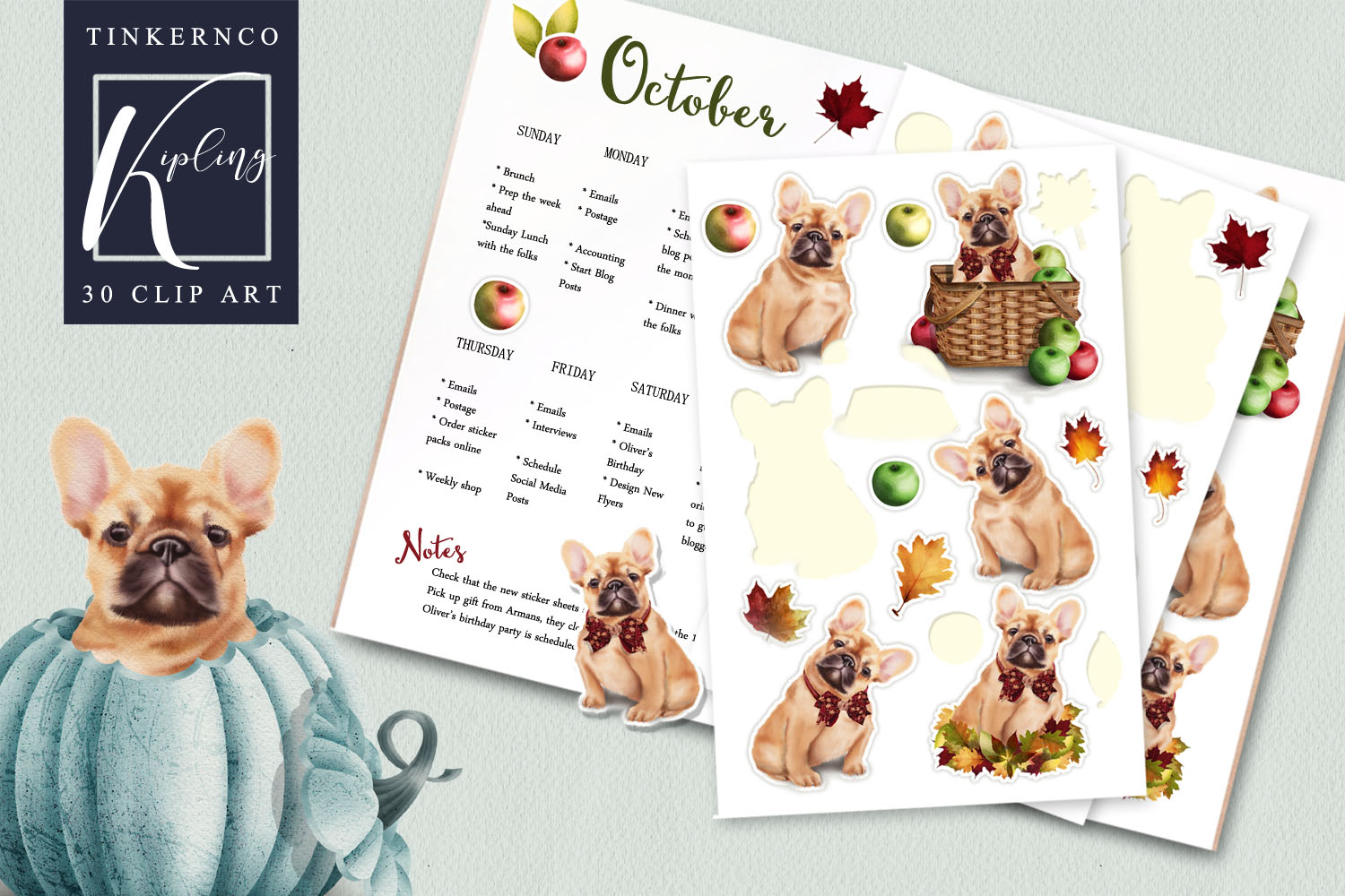 French Bulldog Clipart Pattern tiles example image 4