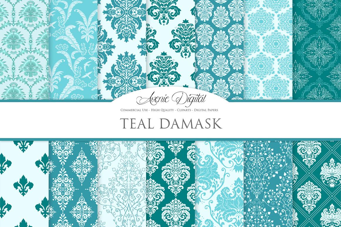 28 Teal Damask Patterns - Seamless Digital Papers Bundle example image 2