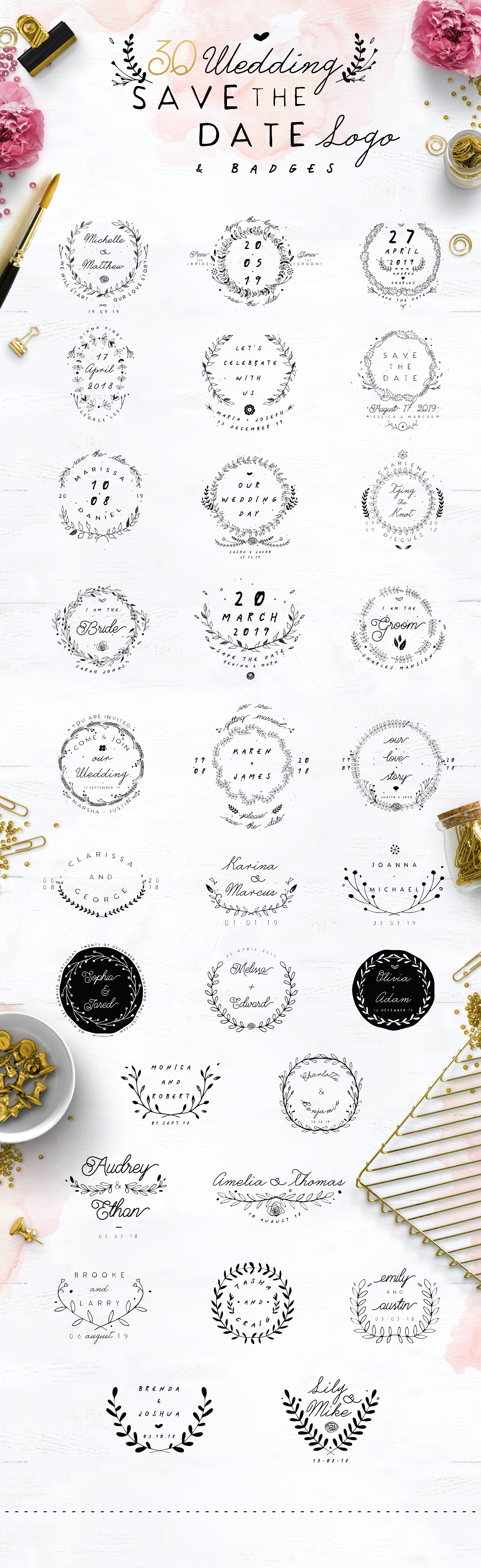 30 Save the Date Wreath Logo example image 6