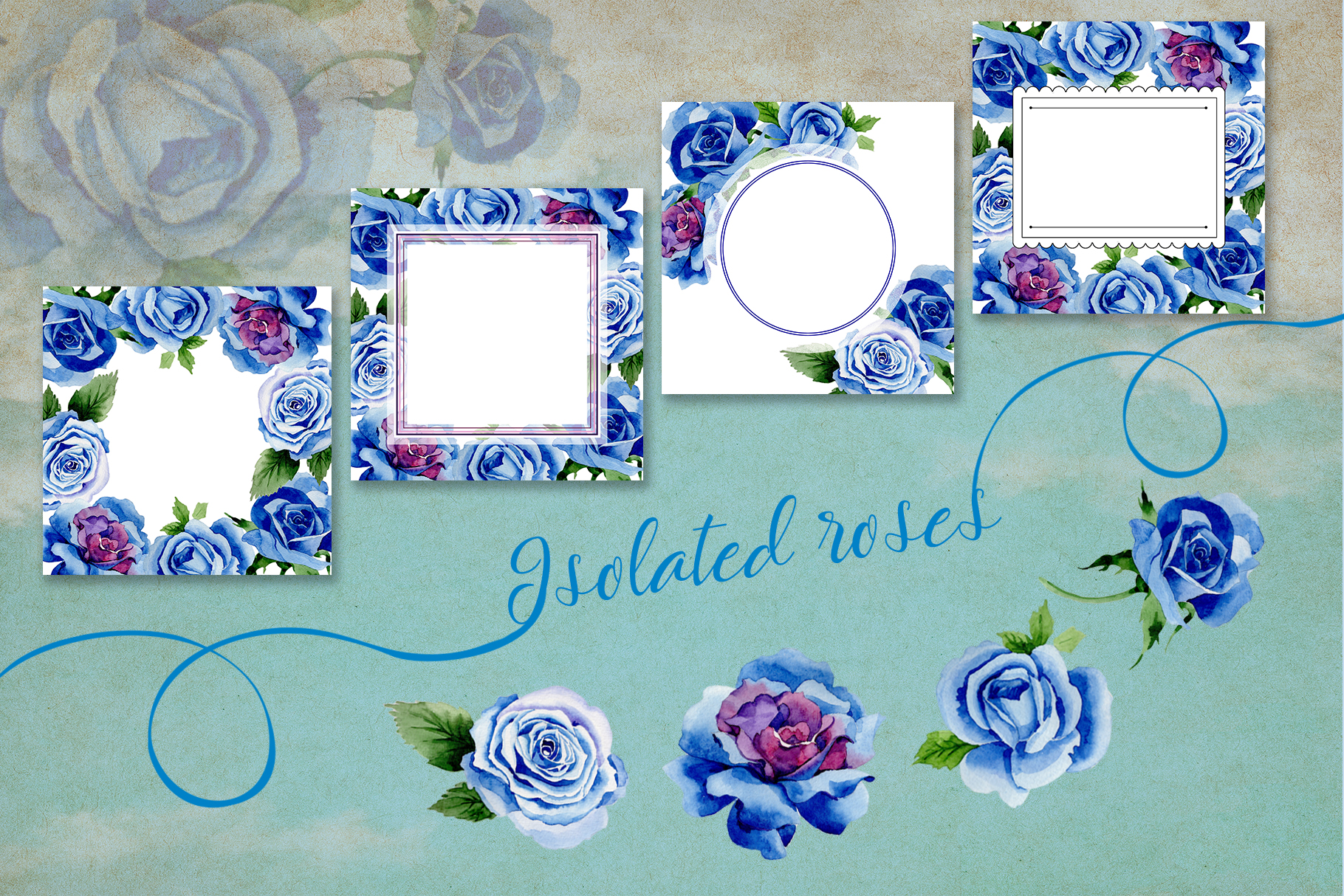 Beautiful blue roses PNG watercolor flower set example image 4