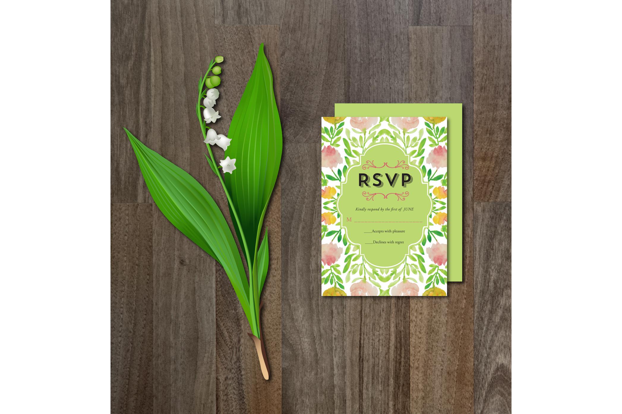 Watercolor Flower Wedding Suite example image 4