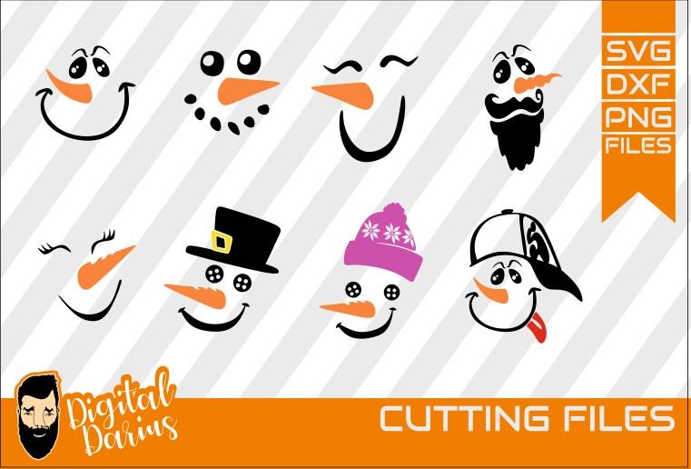 8x Snowman Face Bundle SVG, Let it snow svg. Merry Christmas example image 1