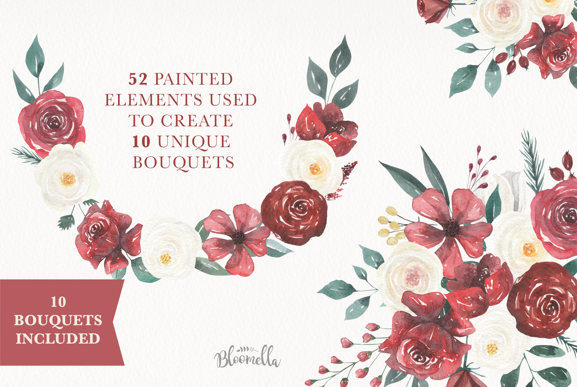 Watercolor Floral Deep Red Cream 10 Bouquets Flower Burgundy example image 5