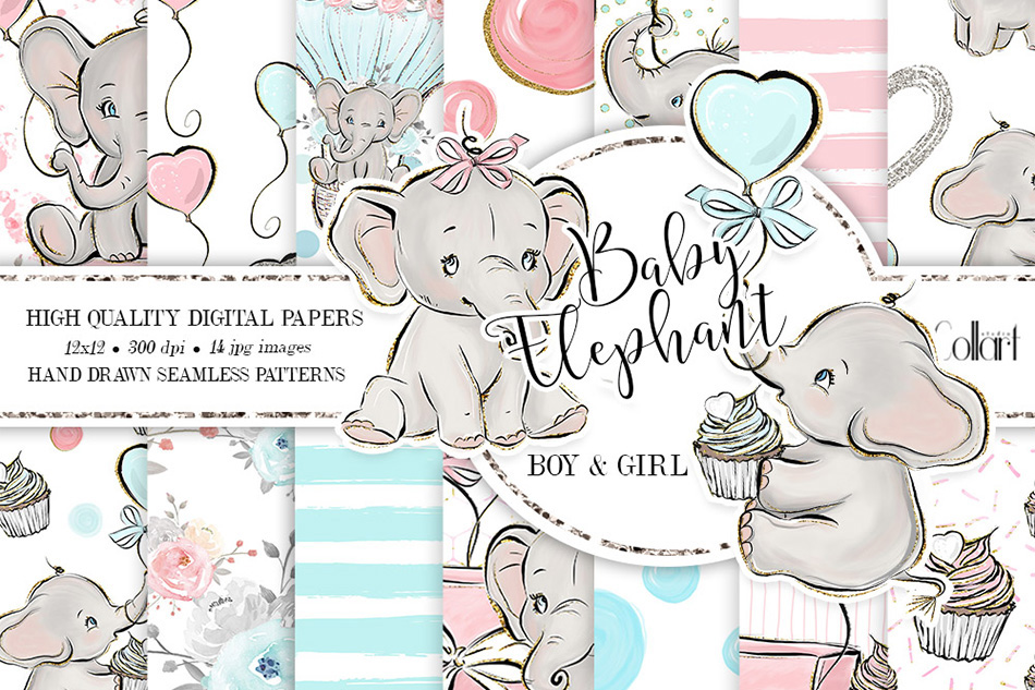 Elephant digital paper, baby boy papers, baby girl papers example image 1