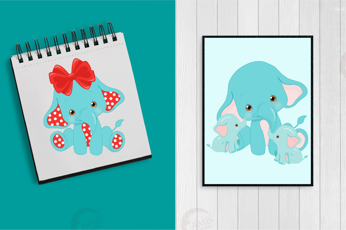 BABY ELEPHANT BUNDLE! 53 cliparts, graphics and illustrations and Patterns AMB-2273 example image 9