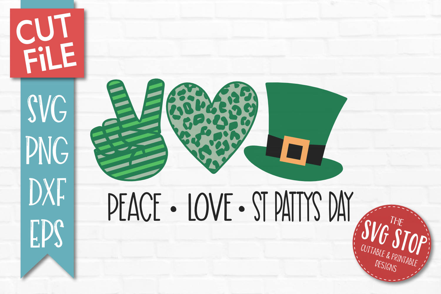 Peace Love St Patricks Day SVG, PNG, DXF, EPS example image 1