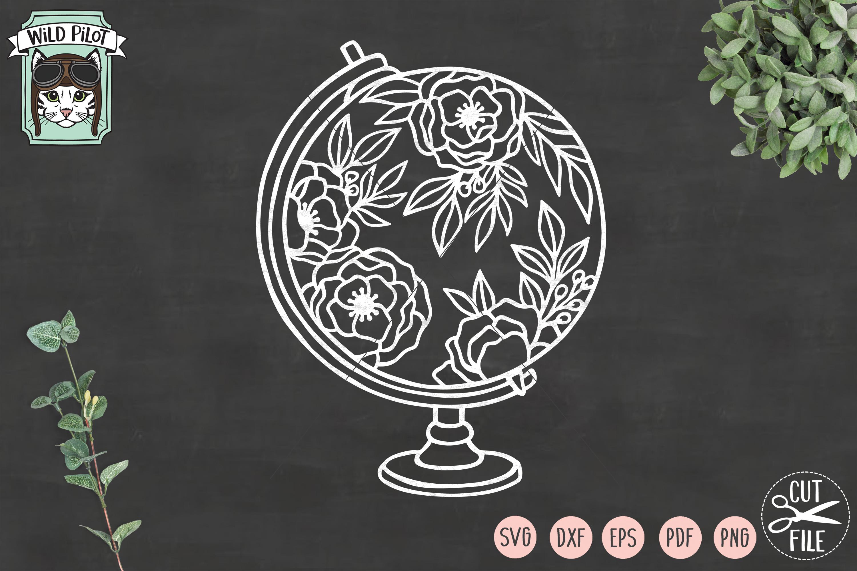 Floral Globe svg file, Flower Globe cut file, Travel svg example image 3